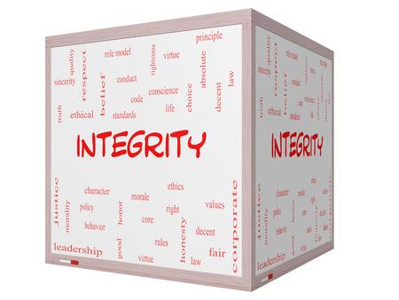integridad: Integridad Palabra Nube Concepto en un cubo 3D pizarra con términos de calidad, como la virtud, el código, la conducta y más.