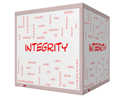 virtue: Integrity Word Cloud Concept on a 3D cube Whiteboard with great terms such as virtue, code, conduct and more.