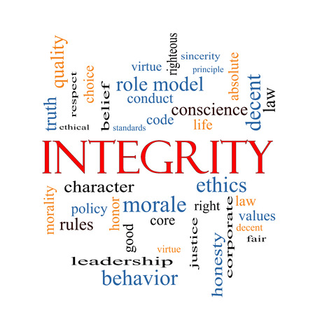 righteous: Integrity Word Cloud Concept with great terms such as virtue, code, conduct and more.