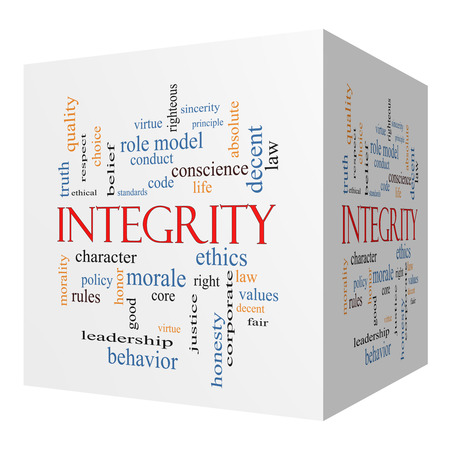 role model: Integrity 3D cube Word Cloud Concept with great terms such as virtue, code, conduct and more. Stock Photo