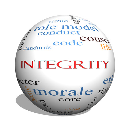 Integrity 3D sphere Word Cloud Concept with great terms such as virtue, code, conduct and more. Stock Photo