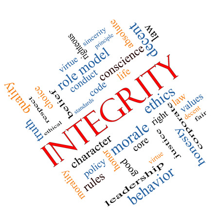 righteous: Integrity Word Cloud Concept angled with great terms such as virtue, code, conduct and more. Stock Photo