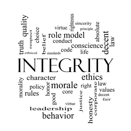 Integrity Word Cloud Concept in black and white with great terms such as virtue, code, conduct and more. photo