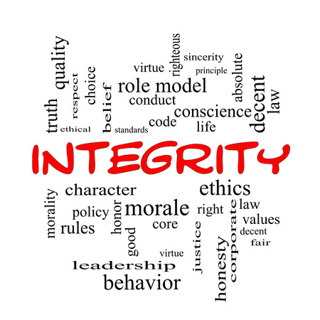 virtue: Integrity Word Cloud Concept in red caps with great terms such as virtue, code, conduct and more. Stock Photo