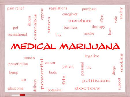 이러한 치료로 좋은 조건의 화이트 보드에 의료 마리화나 단어 구름 개념, 환자와 더 많은 합법화.