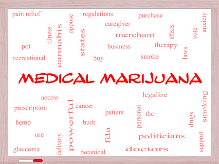 Medical Marijuana Word Cloud Concept on a Whiteboard with great terms such as therapy, legalize, patient and more. photo