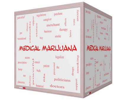 이러한 치료로 좋은 조건의 3D 큐브 화이트 보드에 의료 마리화나 단어 구름 개념, 환자 등을 합법화. 스톡 콘텐츠