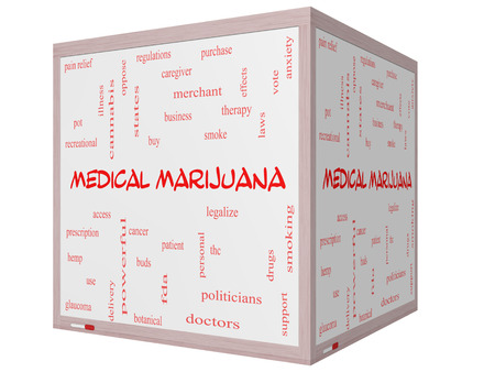 Medical Marijuana Word Cloud Concept on a 3D cube Whiteboard with great terms such as therapy, legalize, patient and more. photo