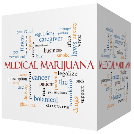 legalize: Medical Marijuana 3D cube Word Cloud Concept with great terms such as therapy, legalize, patient and more. Stock Photo