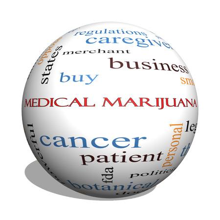 이러한 치료로 좋은 조건에 의료 마리화나 3D 구 단어 구름 개념, 환자 등을 합법화.