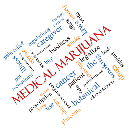 Medical Marijuana Word Cloud Concept angled with great terms such as therapy, legalize, patient and more.