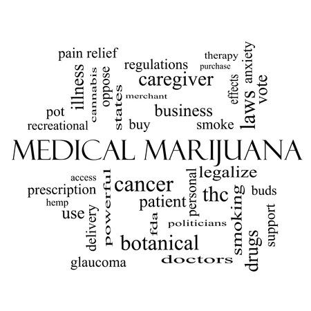 이러한 치료, 합법화, 환자 등과 같은 좋은 조건에 검은 색과 흰색의 의료 마리화나 단어 구름 개념입니다.