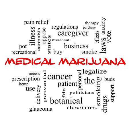 이러한 치료, 합법화, 환자 등과 같은 좋은 조건에 빨간색 모자에 의료 마리화나 단어 구름 개념입니다.