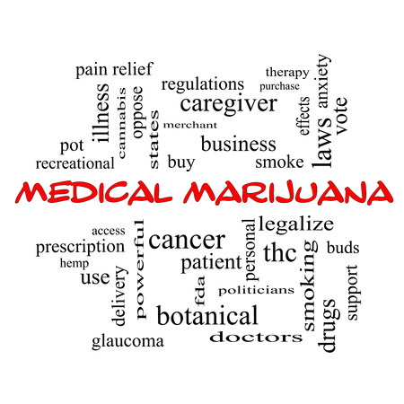 Medical Marijuana Word Cloud Concept in red caps with great terms such as therapy, legalize, patient and more.