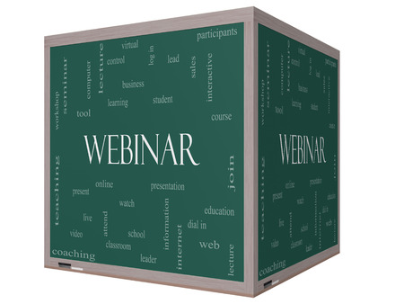 Webinar Word Cloud Concept on a 3D cube Blackboard with great terms such as course, watch, online and more. photo