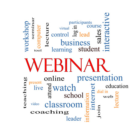 Webinar Word Cloud Concept with great terms such as course, watch, online and more. photo