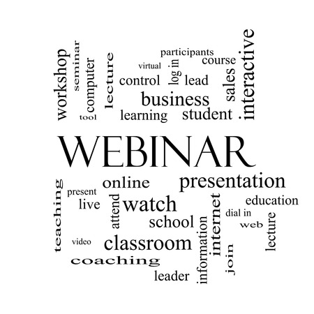 Webinar Word Cloud Concept in black and white with great terms such as course, watch, online and more. photo