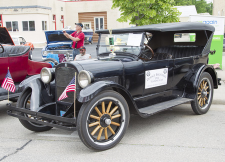 dodge: WINNECONNE, WI - JUNE 1:  1924 Black Dodge Brothers Touring Car at Annual Car Show on Main Street June 1, 2013 in Winneconne, Wisconsin.
