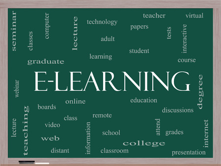 E-Learning Word Cloud Concept on a Blackboard with great terms such as classes, online, eductiona and more.