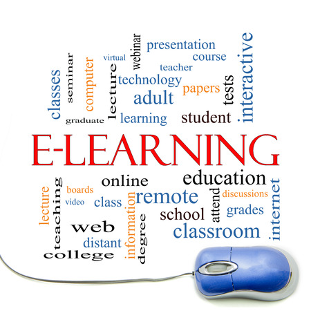 E-Learning Word Cloud Concept with a mouse with great terms such as classes, online, eductiona and more. Stock Photo