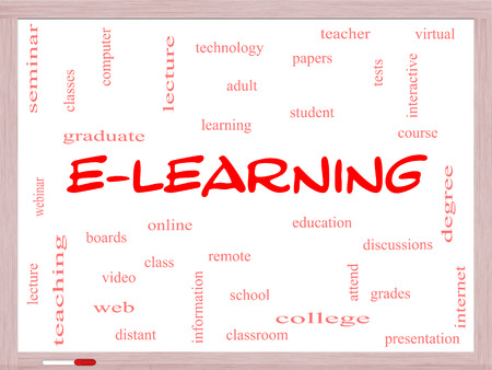 E-Learning Word Cloud Concept on a Whiteboard with great terms such as classes, online, eductiona and more.