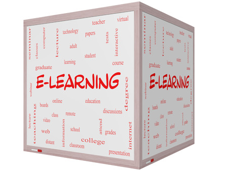 E-Learning Word Cloud Concept on a 3D cube Whiteboard with great terms such as classes, online, eductiona and more.