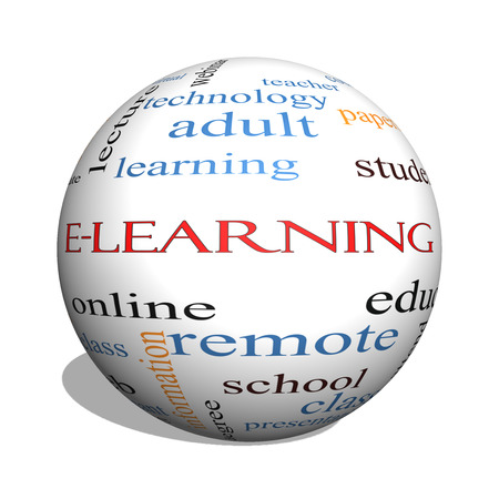 distant: E-Learning 3D sphere Word Cloud Concept with great terms such as classes, online, eductiona and more. Stock Photo