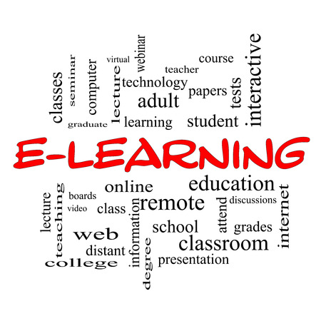 E-Learning Word Cloud Concept in red caps with great terms such as classes, online, eductiona and more.