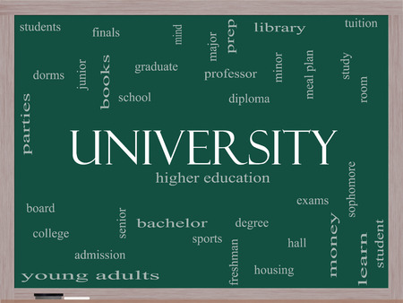 university word: University Word Cloud Concept on a Blackboard with great terms such as tuition, study, student, major and more.