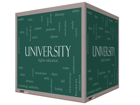 university word: University Word Cloud Concept on a 3D cube Blackboard with great terms such as tuition, study, student, major and more.