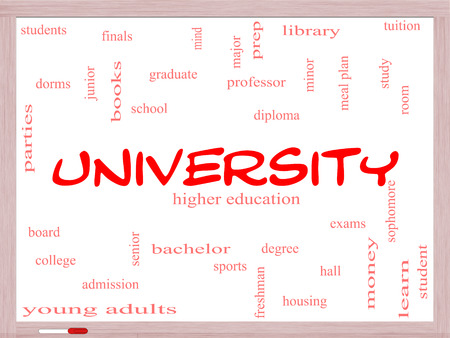 university word: University Word Cloud Concept on a Whiteboard with great terms such as tuition, study, student, major and more.