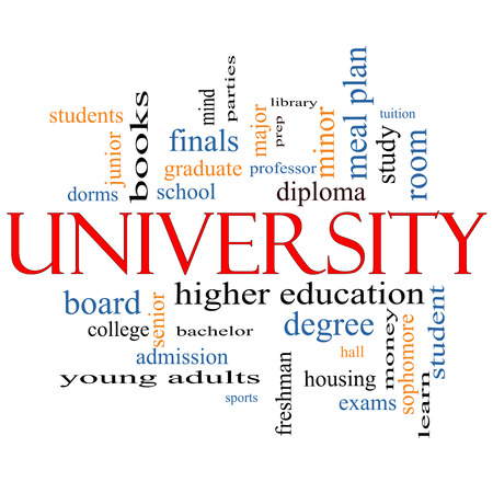 university word: University Word Cloud Concept with great terms such as tuition, study, student, major and more. Stock Photo