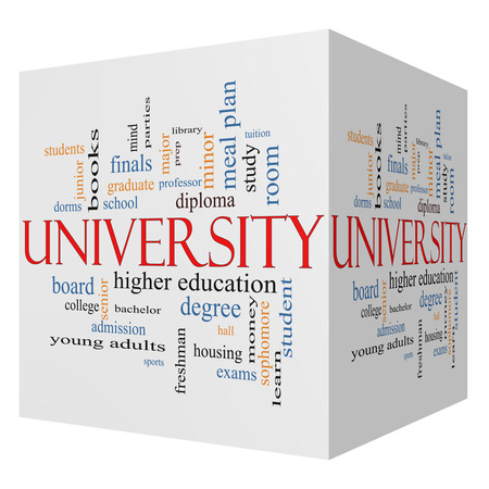 admission: University 3D cube Word Cloud Concept with great terms such as tuition, study, student, major and more.
