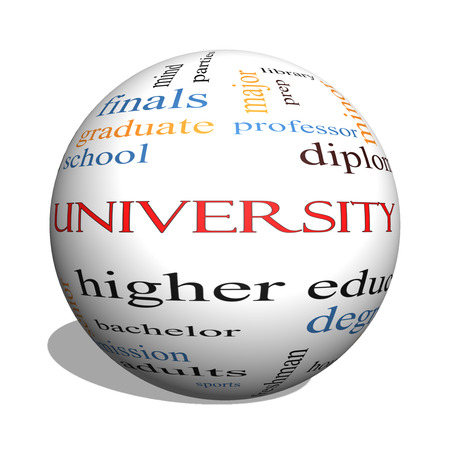 University 3D sphere Word Cloud Concept with great terms such as tuition, study, student, major and more.
