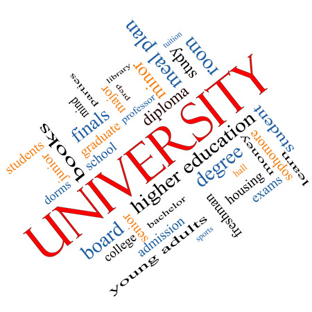 university word: University Word Cloud Concept angled with great terms such as tuition, study, student, major and more.