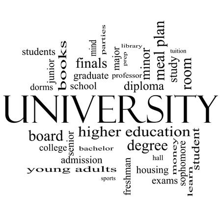university word: University Word Cloud Concept in black and white with great terms such as tuition, study, student, major and more.