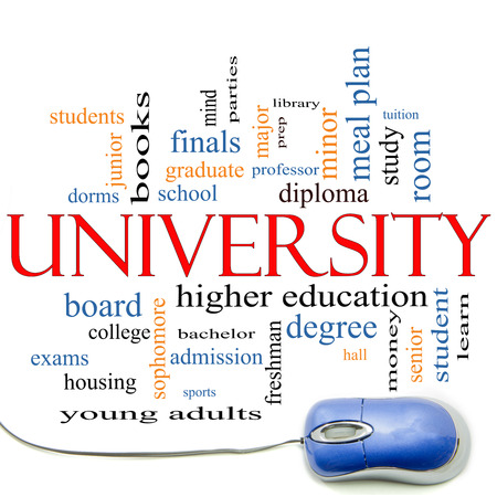 university word: University Word Cloud Concept with mouse with great terms such as tuition, study, student, major and more. Stock Photo