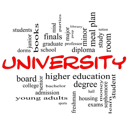 University Word Cloud Concept in red caps with great terms such as tuition, study, student, major and more. Stock Photo