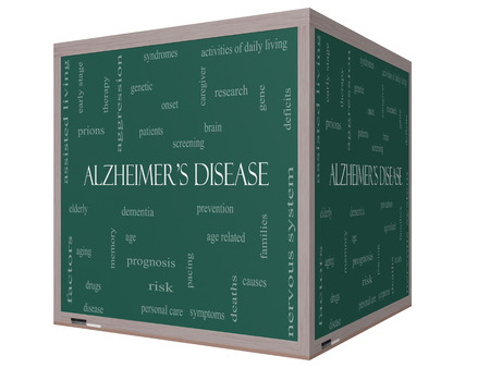 brain aging: Alzheimers Disease Word Cloud Concept on a Blackboard with great terms such as elderly, genetic, dementia and more.