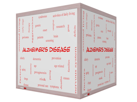 deficits: Alzheimers Disease Word Cloud Concept on a 3D cube Whiteboard with great terms such as elderly, genetic, dementia and more.