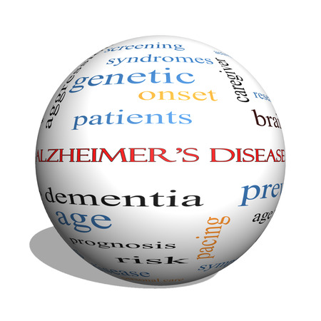brain aging: Alzheimers Disease 3D sphere Word Cloud Concept with great terms such as elderly, genetic, dementia and more.