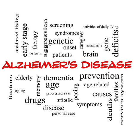 deficits: Alzheimers Disease Word Cloud Concept in red caps with great terms such as elderly, genetic, dementia and more.
