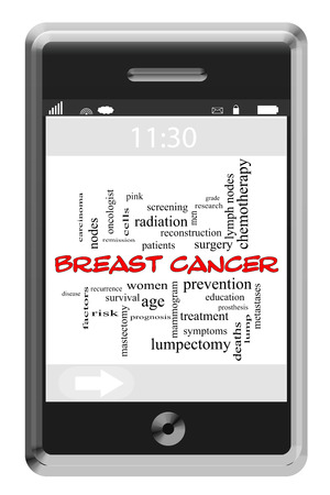Breast Cancer Word Cloud Concept of Touchscreen Phone with great terms such as women, prevention, treatment and more. photo