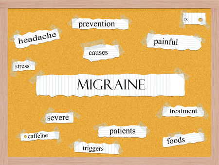 Migraine Corkboard Word Concept with great terms such as painful, rx, stress and more. Stock Photo