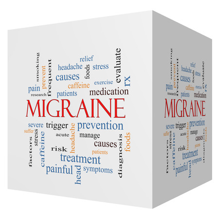 Migraine 3D cube Word Cloud Concept with great terms such as headache, severe, trigger and more.