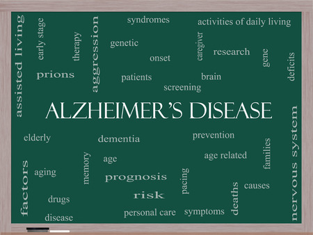 deficits: Alzheimers Disease Word Cloud Concept on a Blackboard with great terms such as elderly, genetic, dementia and more.