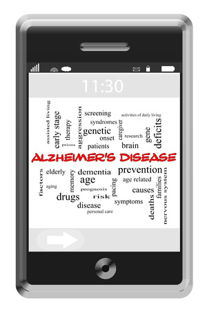 age related: Alzheimers Disease Word Cloud Concept of Touchscreen Phone with great terms such as elderly, dementia, aging and more.