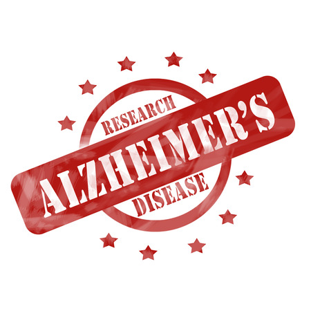 A red ink weathered roughed up circle and stars stamp design with the words ALZHEIMERS DISEASE RESEARCH on it making a great concept. Stock Photo