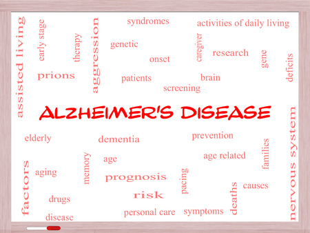 deficits: Alzheimers Disease Word Cloud Concept on a Whiteboard with great terms such as elderly, genetic, dementia and more.