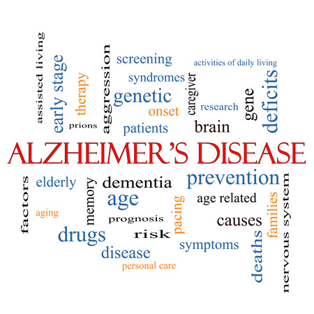 deficits: Alzheimers Disease Word Cloud Concept with great terms such as elderly, genetic, dementia and more.
